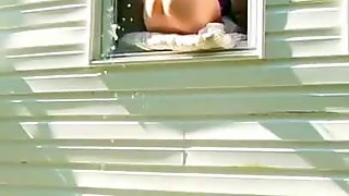 Squirting Out Of Her Bedroom Window While Neighbors Watch