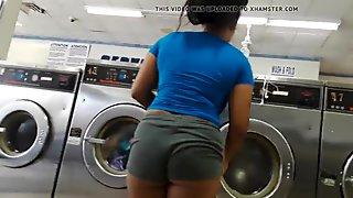 Fat Ass booty shorts at the Laundrymat